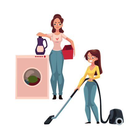 Pretty young woman, housewife washing and vacuum cleaning her house, doing housework, cartoon vector illustration isolated on white background. Beautiful woman girl washing clothes 向量圖像
