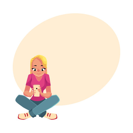 Young woman playing with smartphone, using mobile phone, sitting legs crossed, cartoon vector illustration with space for text. Woman, girl in jeans and t-shirt sitting with mobile phone Illustration
