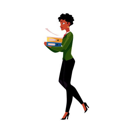 Jovem, linda, empresária afro-americana, mulher, menina carregando pastas de documentos pesados, ilustração vetorial de desenhos animados isolada no fundo branco. Empresária negra com pastas de documentos Ilustración de vector