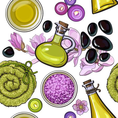스파 살롱 액세서리 - 마사지 오일과 돌, 촛불, 수건 롤, 꽃, 아로마 소금의 원활한 패턴 흰색 배경에 스케치 벡터 일러스트 레이 션. 스파 액세서리의