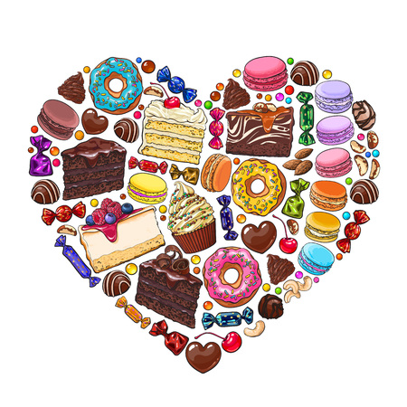 Heart made of cakes, sweets, candies, macaroons, nuts, donuts and other desserts and pastries, sketch vector illustration isolated on white background. Heart formed by pastries, candies and desserts