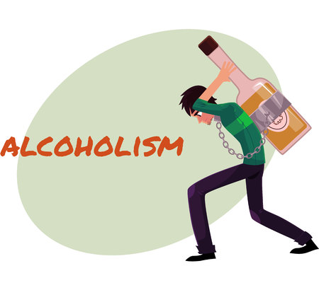hunched: Alcohol dependence poster, banner template with man chained to huge bottle of liquor, carrying it on his back, alcohol dependence concept, cartoon vector illustrations isolated on white background.