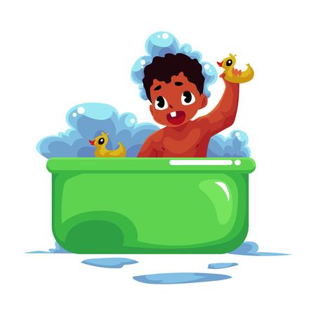 Mignon petit noir, bébé afro-américain, nourrisson, enfant prenant un bain avec des canards en caoutchouc, illustration de vecteur de dessin animé isolé sur fond blanc. Petit bébé noir et afro-américain qui prend un bain de mousse Banque d'images - 80976014
