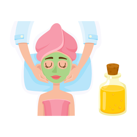 Cosmetician applying cream, mask on young woman face in spa salon, top view cartoon vector illustration on white background. Top view picture of woman getting facial mask in spa, cosmetic procedure