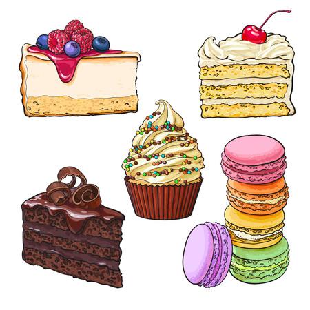 デザート コレクション - カップケーキ、チョコレートとバニラのケーキ、チーズケーキ、マカロン、白い背景で隔離のスケッチ ベクトル図です。手描きのデザート - ケーキ、カップケーキ、チーズケーキ、マカロン