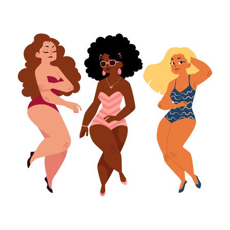 Three plump, curvy women, girls, plus size models in swimming suits, top view cartoon vector illustration isolated on white background. Beautiful plump, overweight women, girls in swimming suits