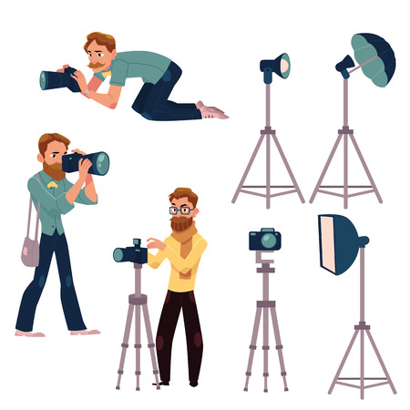 Set of photographers at work and professional equipment - camera, flash, light, reflector, tripod, cartoon vector illustration on white background. Professional photographers and photo equipment Ilustração