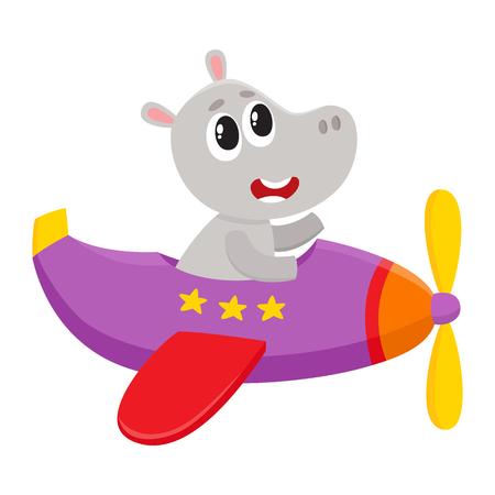 Cute funny hippo pilot character flying on airplane, cartoon vector illustration isolated on white background. Little baby hippo pilot, animal character flying in open airplane Ilustração