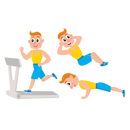 Young man doing sport exercises, training, push-ups, cartoon vector illustration isolated on white background. Cartoon man, guy doing fitness exercises, weightlifting
