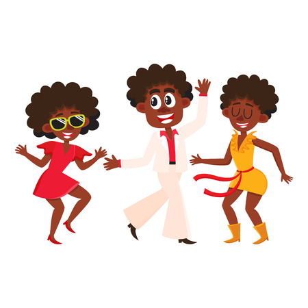 Set of retro disco dancers, black boys and girls, men and women, cartoon vector illustration isolated on white background. Men and women in colorful clothes dancing at retro disco party Ilustração