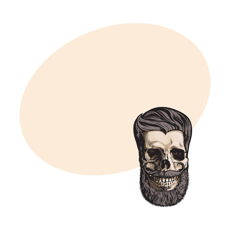 Hand drawn human skull with hipster hairdo, beard and moustache, sketch style vector illustration with space for text. Hand drawing of human skull with hipster hair, beard and whiskers 向量圖像