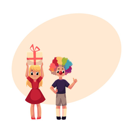 Kids, boy in clown wig and red nose, girl holding birthday gift, cartoon vector illustration with space for text. Two kids, boy and girl, at birthday party, with clown nose, hair and gift Illustration