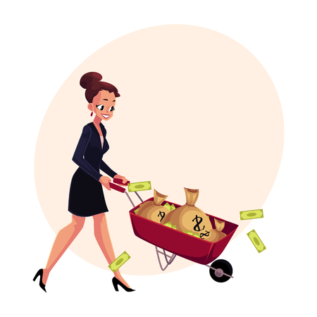 Happy woman, girl, businesswoman pushing wheelbarrow full of money bags, cartoon vector illustration with space for text. Businesswoman, woman, girl pushing wheelbarrow with money bags