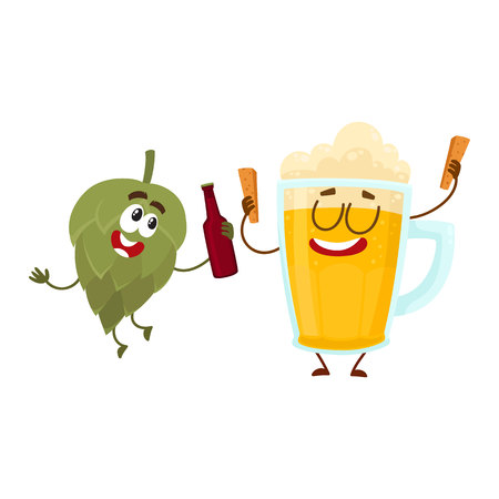 Funny beer glass and hop characters having fun, drinking, celebrating together, cartoon illustration. Иллюстрация