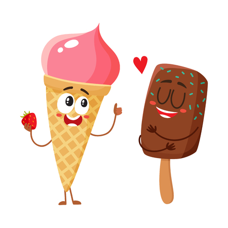 Two funny ice cream characters. Фото со стока - 81013028
