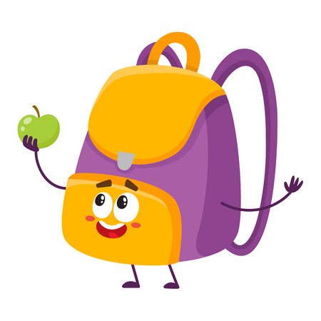 Cute and funny school bag, backpack character with smiling human face holding an apple.