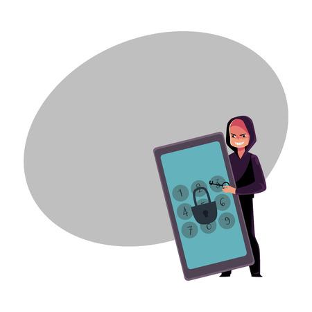 Hacker in zwarte hoodie brekende telefoon, pincode, kraakschermvergrendeling.