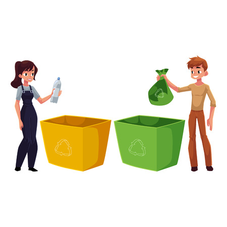 Man and woman putting garbage into trash bin, waste recycling concept.