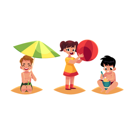 Three kids, boys and girl, playing on sandy beach, summer vacation, cartoon vector illustration isolated on white background. Kids, children happy on the beach, playing with sand and inflatable ball Illustration