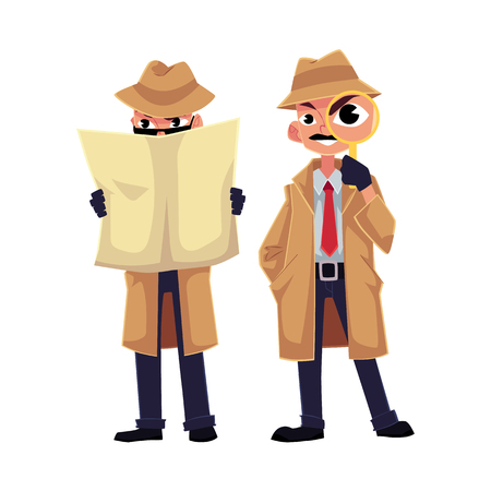 Comic detective character looking through magnifying glass, hiding behind newspaper, cartoon vector illustration isolated on white background. Funny detective character, private investigator concept