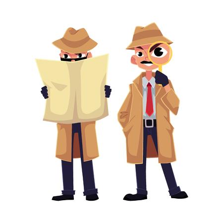 Personaje de detective cómico mirando a través de lupa, escondiéndose detrás de periódico, ilustración vectorial de dibujos animados aislado sobre fondo blanco. Personaje de detective divertido, concepto de investigador privado Ilustración de vector