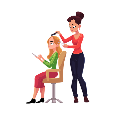Hairdresser cutting hair, making haircut for blond woman who uses smartphone meanwhile, cartoon vector illustration isolated on white background. Hairdresser woman making haircut for her client 일러스트