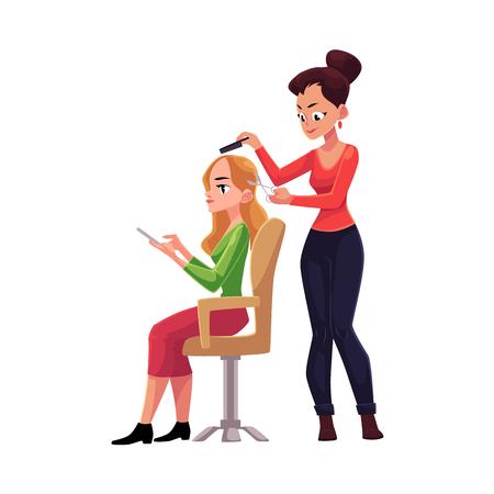 Kapper scherp haar, die kapsel voor blonde vrouw maken die ondertussen smartphone, beeldverhaal vectorillustratie gebruikt die op witte achtergrond wordt geïsoleerd. Kappervrouw die kapsel voor haar cliënt maken