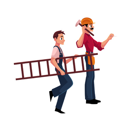 Two construction workers - one driving nail with hammer, another carrying ladder, cartoon vector illustration isolated on white background. Full length portrait of two construction site workers