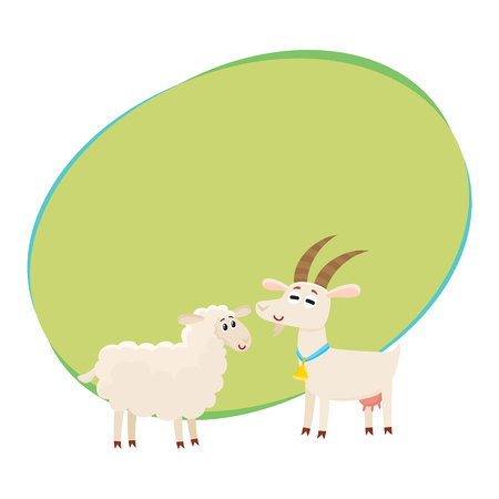 Farm black spotted cow looking at white smiling goat, cartoon vector illustration with space for text. Cute and funny farm goat and cow with friendly faces and big eyes Çizim