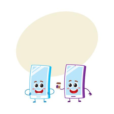 2つの漫画の携帯電話の文字、1つの腕のアキンボ、もう1つは、テキストのためのスペースを持つ紙のコーヒーカップを保持しています。