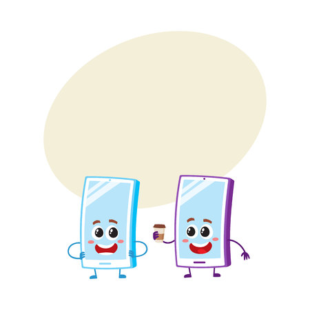 Two cartoon mobile phone characters, one arms akimbo, another holding paper coffee cup, with space for text.