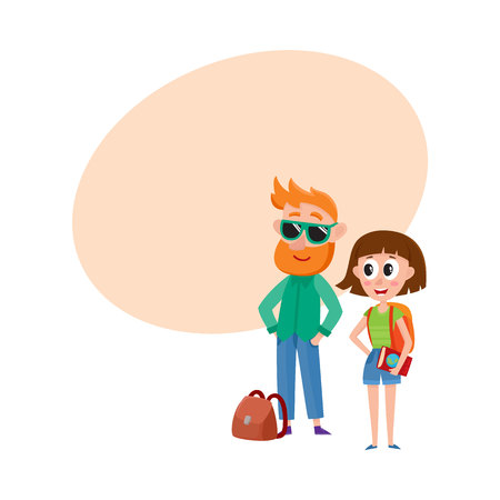Couple of tourists, man in sunglasses and woman with backpack, travelling together, cartoon illustration with space for text.