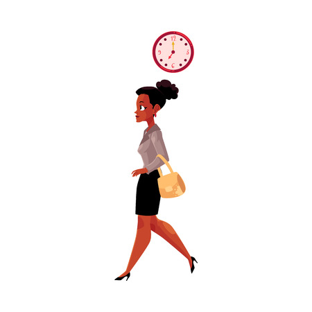 Young black, African American businesswoman going to work in the morning, clock showing time, cartoon vector illustration isolated on white background. Black businesswoman going to work in the morning