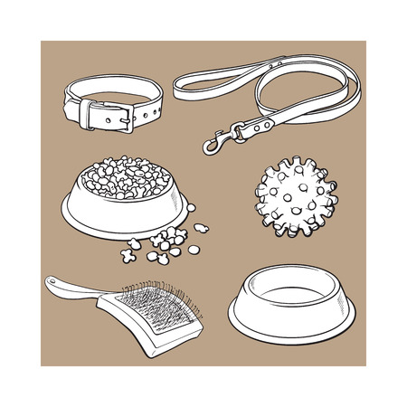necessity: Set of pet, cat, dog accessories full and empty bowl, collar, leash, rubber ball, hairbrush, black and white sketch style vector illustration isolated on brown background. Hand drawn pet accessories