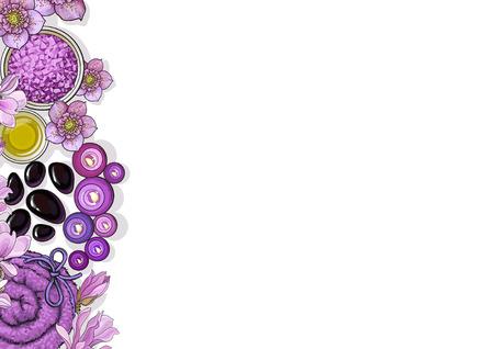 상위 뷰 테두리가있는 배너 서식 파일 스파 살롱 액세서리 및 흰색 배경에 꽃 스케치 벡터 일러스트 레이 션.