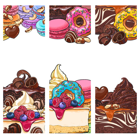 Three banner, label, postcard templates with cakes, desserts, sweets and empty place for text, sketch vector illustration.