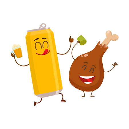 Funny alumium beer can and fried chicken leg characters Illustration