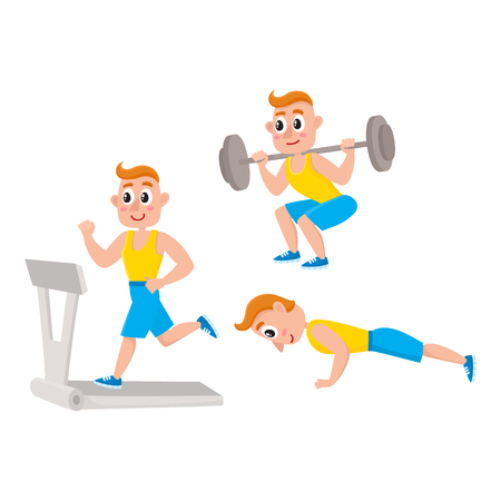 Young man doing sport exercises