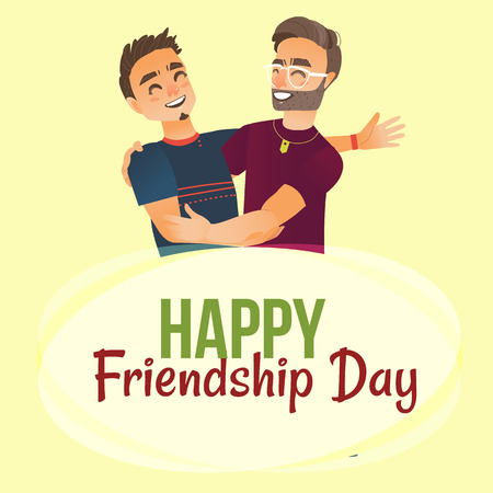 Happy friendship day greeting card design with two men.
