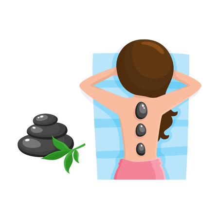 Jeune femme se massage aux pierres chaudes dans un salon spa. Vecteurs