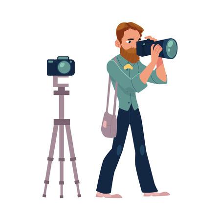 남성 사진 작가, 카메라 남자 직장 사진 촬영, 촬영, 흰색 배경에 만화 벡터 일러스트 레이 션. 전문 사진 작가, 사진 저널리스트, 직장에서 기자의 전체