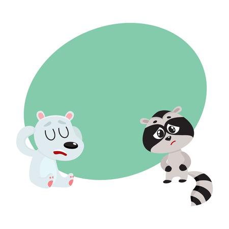 Sick baby raccoon and polar bear having headache