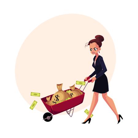 Sad, frustrated woman, girl, businesswoman pushing wheelbarrow with money bags, cartoon vector illustration with space for text. Businesswoman, woman, girl pushing wheelbarrow with money bags Иллюстрация