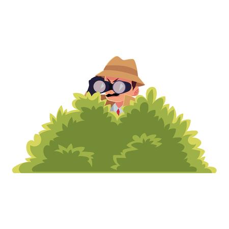 Funny detective character looking through binoculars from bush, spying, cartoon vector illustration