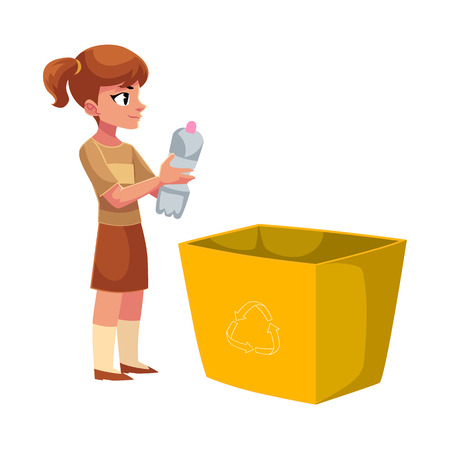 Girl going to throw plastic bottle in trash, garbage recycling concept, cartoon vector illustration isolated on white background.