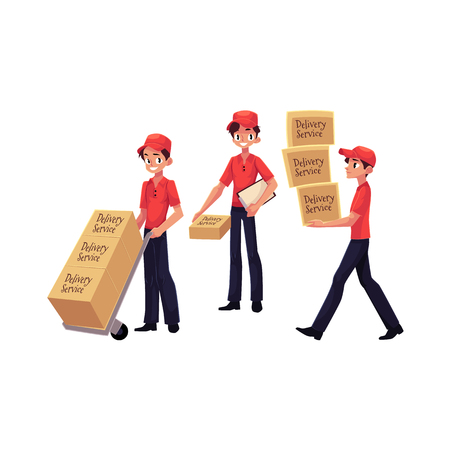 Young man working as courier, delivering goods, parcel, boxes, cartoon vector illustration Illustration