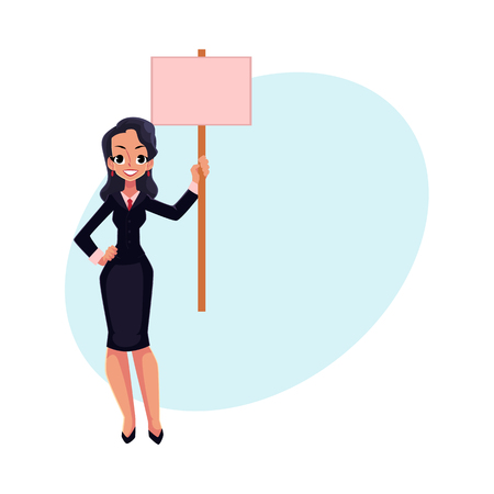 activist: Smiling girl, woman, businesswoman on strike holding empty board in hand, cartoon vector illustration with space for text.