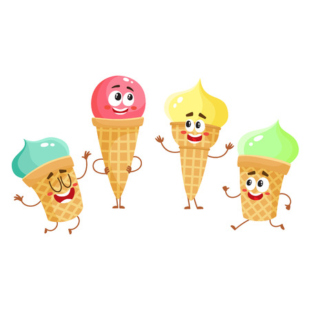 Cute and funny ice cream characters, cones, popsicles with smiling human faces, cartoon vector illustration isolated on white background. Set of colorful ice cream characters, mascots