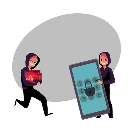 Hacker cracking smartphone, breaking pin code, stealing money from credit card, cartoon vector illustration Stok Fotoğraf - 81122882