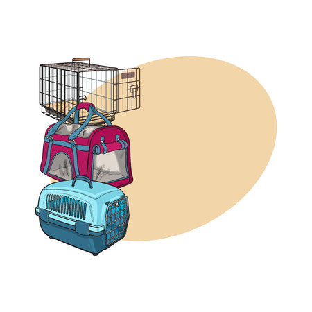 Three type of pet carrier, transport bag, plastic case, metal wire, sketch vector illustration with space for text. Çizim